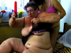 Lesbian and threesome fun with horny grandma
