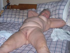 Chubby granny with sagging tits and hairy pussy