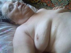 Old wrinkled granny and her big tits, hairy pussy