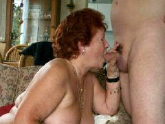 Old lady with big hairy pussy sucking big dick