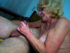 Naughty grandma fingered and sucking dick nice