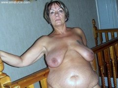 Old Chubby mature showing her pussy and boobs