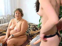 Chuby older women and sexy girl fucking with strapon