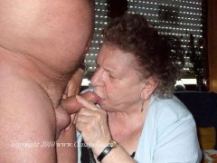 Amateur grannies sucking on lucky guys dick hard