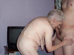 Very old granny 91yo sucking cock