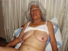 Tired and naked old granny show her tits and pussy
