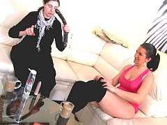 Great strapon and vibrator lesbians