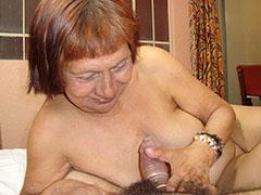 Grandpa cums on latina grandma in living-room