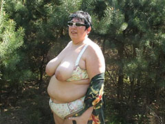 Very old granny with very big boobs