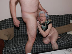 Oma sucking cock and toying old pussy