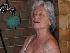 Older granny lady having fun alone