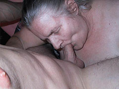Old Chubby lady granny sucking dick and masturbate