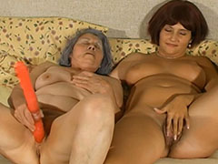 Two old mature grannies toying together