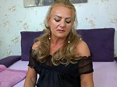 Old chubby mature masturbating On Bed