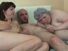 Granny horny threesome with another girl