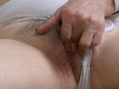 Hot granny so horny fingering her old pussy
