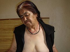 Old granny does striptease in bathroom