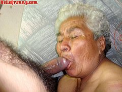 Very old grandma shows her hairy pussy