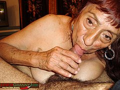 Hot horny granny playing with hard cock