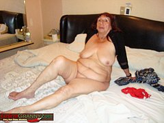 Grandma suck dick and doing striptease