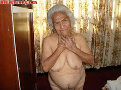 Old woman and her hairy pussy and ass