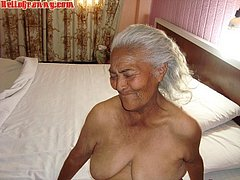Sweet and nice granny makes striptease