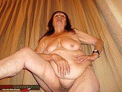 Mature woman licking their own boobs