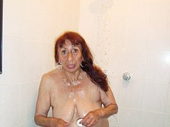 Horny old latina senior is playing on toilet