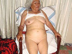 Ugly wrinkled woman and her naked body