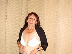 Old fat mature lady doing striptease alone