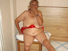 Very old woman with shaved pussy relax