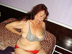 Amateur old latina granny wrinkly breasts