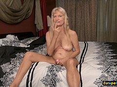 Granny hairy blonde small tits masturbation
