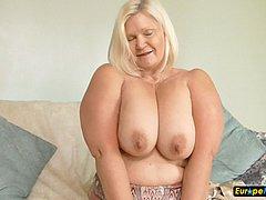 Mature blonde bbw chubby toy masturbation