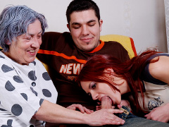 Granny enjoying time with young couple
