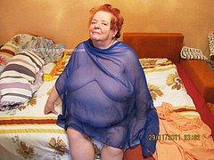 Old amateur grandmas posing at home