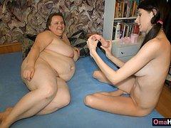 Granny with big tits sucking dick with Sasha