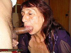 Granny Hard play with huge mature cock