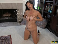 Mature slow striptease and masturbation