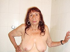 Crazy old woman have pretty big boobs