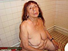 Grandma masturbating pussy on the toilet