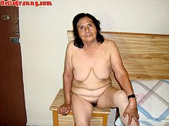 Senior woman show her naked old body