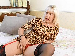 Slim blonde pictured hot and naked playing