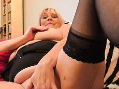 Curvy blonde european mature granny