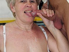Horny amateur granny fucks her juicy hole
