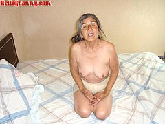 Old natural tits of latin and granny woman