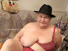 Granny play with really huge natural tits