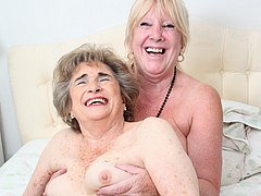 Crazy old lesbian play with each other
