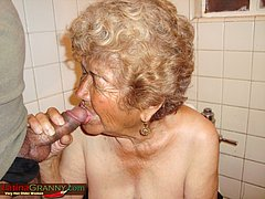 Old latin woman on toilet sucking hard dick